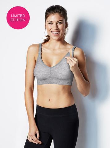 Těhotenská a kojící podprsenka Body Silk Seamless Yoga Grey - Velikost XL Bravado! designs